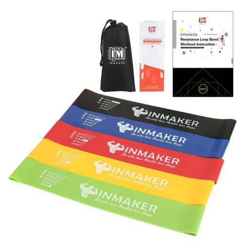 INMAKER Resistance Bands for Women and Men, Exercise Bands for Legs and Glutes, Set of 5, Free Workout EBook, Carry Bag, Online Videos and Manual