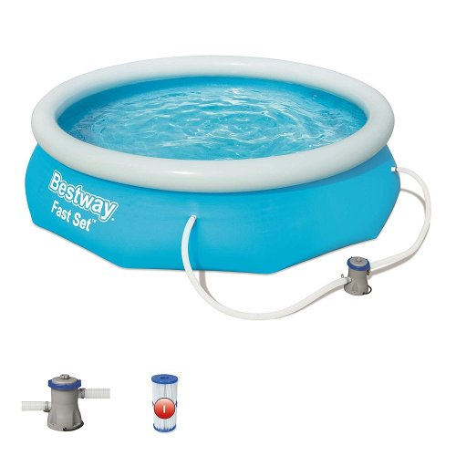 Bestway 3.05m x 0.76m Fast Set Water Paddling Swimming Pool Set with Pump