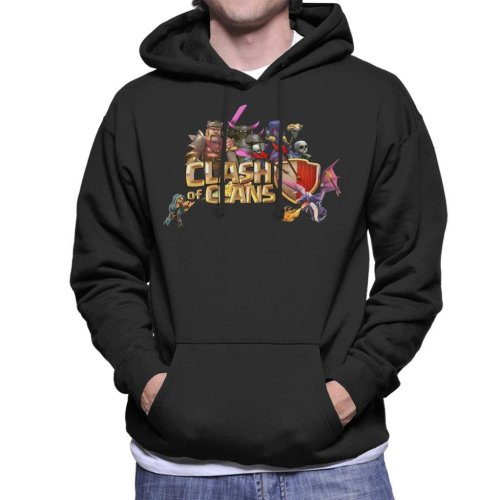(Small, Black) Clash Of Clans Characters Logo Men's Hooded Sweatshirt