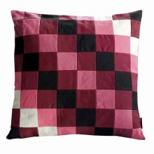 Canvas Decorative Pillows For Sofa/Bed, Inner Included [Red&Black Grid]