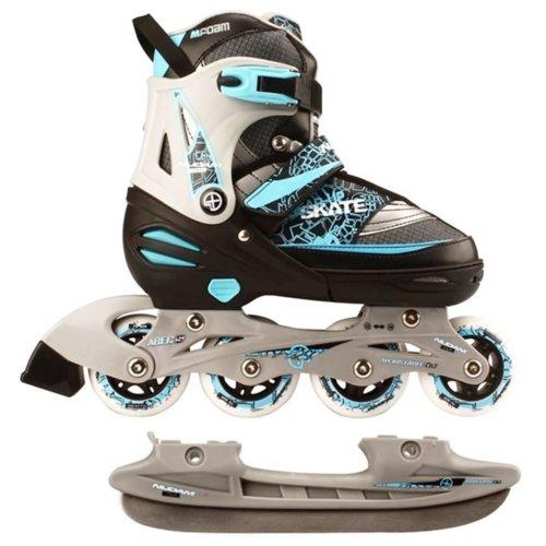 Nijdam Inline Combo Ice Skates 31-34 Black/Silver/Blue 52SZ