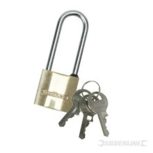 Silverline Brass Padlock Long Shackle 40mm - Mss03l Security 38mm -  brass padlock long shackle silverline mss03l 40mm security 38mm