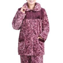 Casual Pajama Set Warm Sleepwear Home Apparel Flannel Pajamas X-large-A8