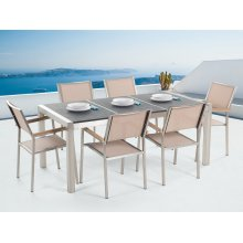 Garden Table and Chairs - Dining Set - 6 Seater - Triple Plate -   -  Chairs - GROSSETO