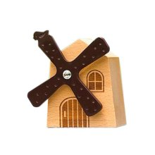 Cute Wooden Windmill-Shaped Music Decoration Clockwork Music Boxes