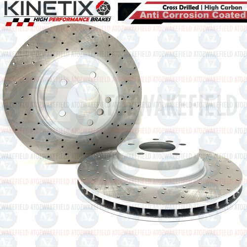 FOR BMW 335d E91 FRONT DRILLED KINETIX PERFORMANCE BRAKE DISCS PAIR 348mm COATED