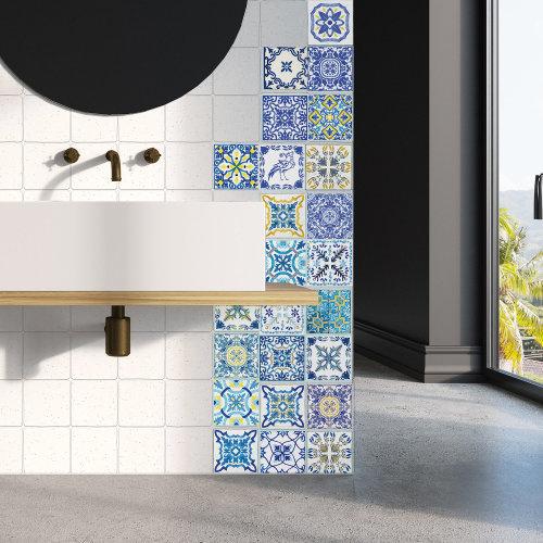 Walplus Tile Sticker Mediterranean Skye Classic Blue Wall Sticker Decal (Size: 10cm x 10cm @ 24pcs)