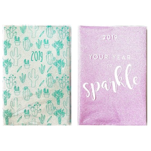 2019 A5 Week To View Glitter Diary Home Office WTV W2V Softback Christmas Gift
