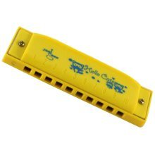 10 Holes Learning Toy Harmonica Wooden Educatial Muscic Toy Yellow