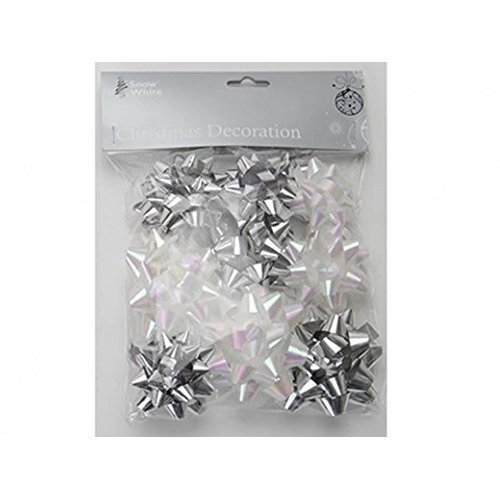 12 Star Bows In Silver & White - Christmas Gift Wrap x Self Adhesive Holographic -  christmas gift wrap 12 x self adhesive bows silver holographic