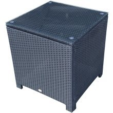 Outsunny Rattan Side Table with Tempered Glass
