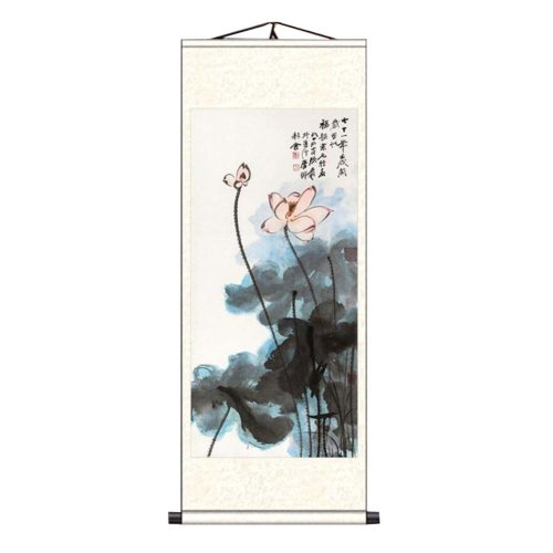 3024ab069 Chinese Scroll Painting Home Decor Silk Scroll Hanging Art Lotus Flower, 27  on OnBuy