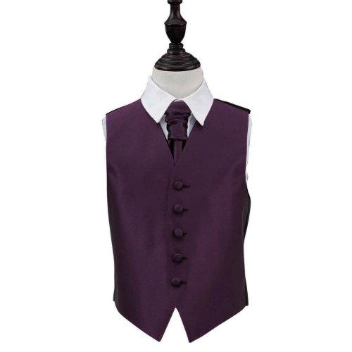Cadbury Purple Solid Check Wedding Waistcoat & Cravat Set for Boys 32'