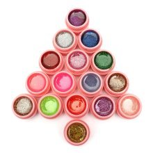 16 Pots Mix Colors Glitter Powder UV Gel Builder Nail Art Decoration Set