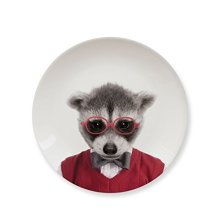 Mustard Snack Side Dessert Plate - Wild Dining Raccoon - Animal Plates Party -  dining wild animal plates raccoon party baby ceramic side lion
