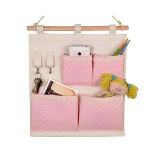 4-Pockets Zakka Wall Door Closet Hanging Storage Bag Case Home Organizer, Pink