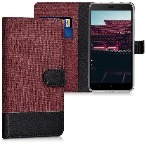 competitive price 3216e 20f90 kwmobile Wallet Case for Xiaomi Redmi Note 4 / Note 4X - Fabric and PU  Leather Flip Cover with Card Slots and Stand - Dark Red Black