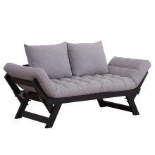 HOMCOM Sofa Bed Chaise Lounge, Linen-Grey