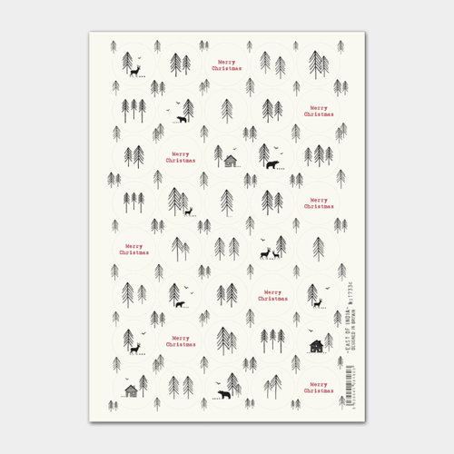 East of India Christmas Forest stickers Single sheet 40 Stickers Cream Craft Xmas
