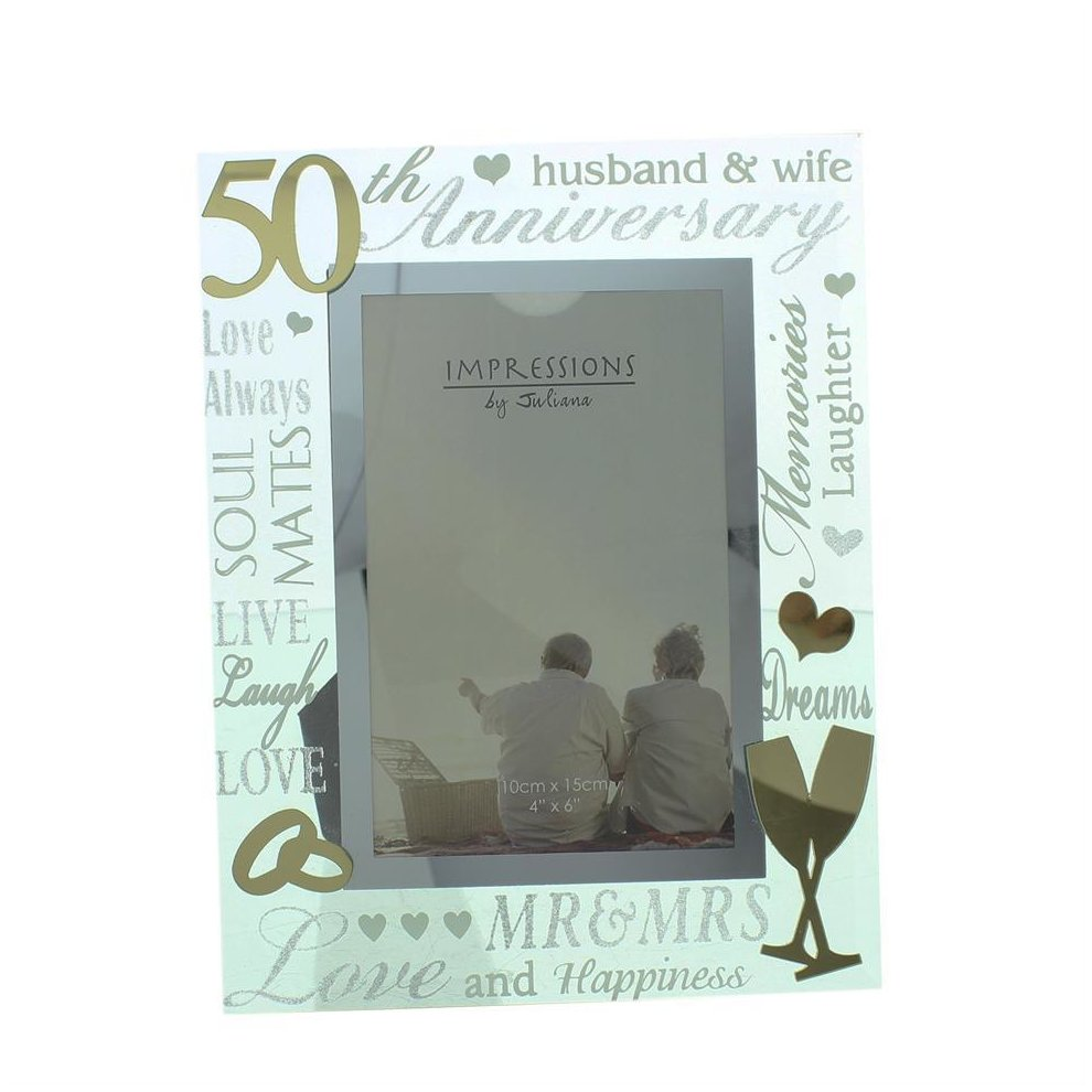 4663032b82e Glass 6 x 4 Photo Frame with Mirror Number   Glitter Letters - 50th  Anniversary on OnBuy