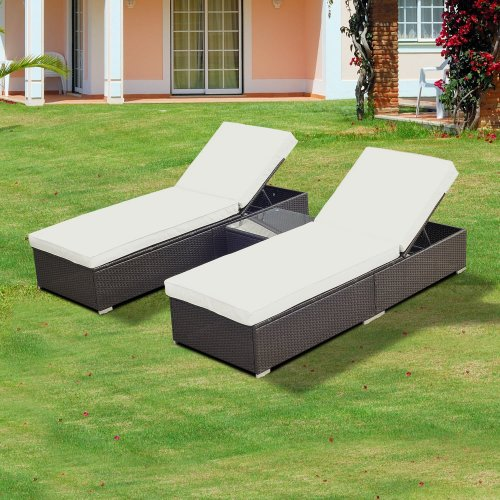 Outsunny Rattan Furniture 3PC Wicker Sun Lounger Chaise Recliner Table