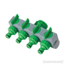 """Silverline 4-way Tap Connector 3/4"""" & 1/2"""" Male - 4way 12 167269 34 -  tap connector 4way silverline 12 167269 male 34"""