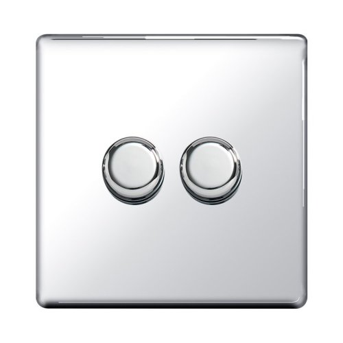 Screwless Flat-Plate - 2 Gang 400W Dimmer Switch - Polished Chrome