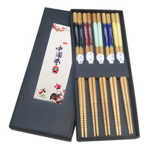 Chopsticks Reusable Set - Asian-style Natural Wooden Chop Stick Set with Case as Present Gift,#5