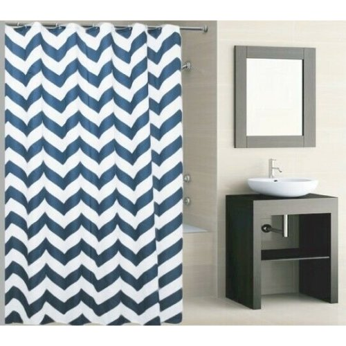 Knightt Polyester Striped Blue Shower Curtain 180 x 180cm Incl Hooks Machine Washable