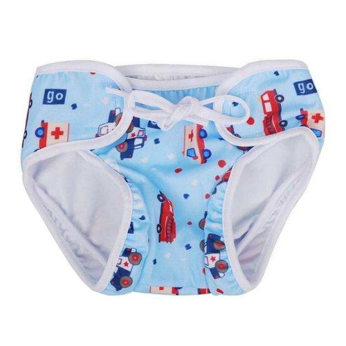 [Blue Car] Reuseable Baby Swim Diaper Lovely Infant Swim Nappy Swimwear