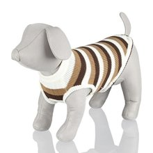 Trixie Hamilton Dog Pullover, X-small, Brown/white Stripes - Pullover Pet Puppy -  dog pullover trixie pet puppy clothes wool cold winter hamilton