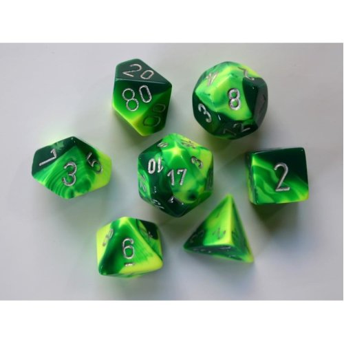 Chessex Gemini Polydice Set - Green-Yellow w/silver