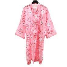Japanese Style Women Thin Cotton Bathrobe Pajamas Kimono Skirt Gown-A02