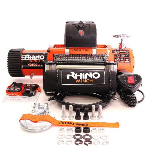 Rhino Electric Winch Wireless Recovery 24v 13500Lb / 6125Kg