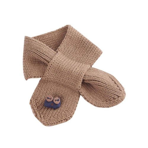 Cute Owl Knitted Baby Scarf Winter Neck Warmer-Brown