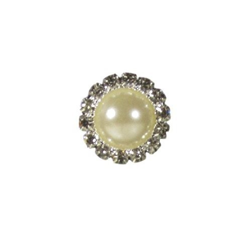 10 x Silver Diamante and Pearl Crystal Rhinestone Round Pearl Diamante Embellishments 2cm