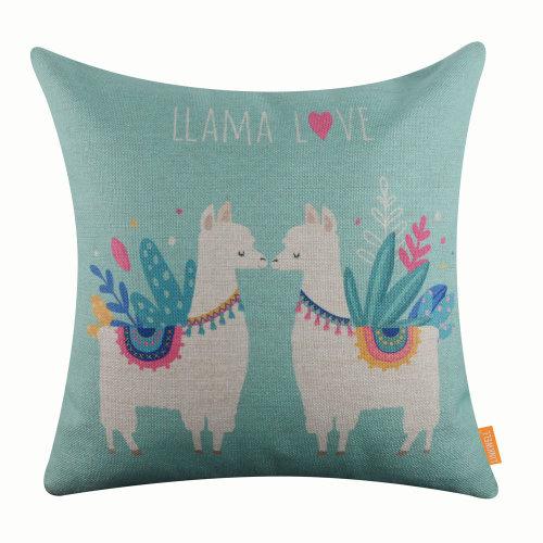 "18""x18"" Cartoon Blue Llama Love Burlap Pillow Cover Cushion Cover"