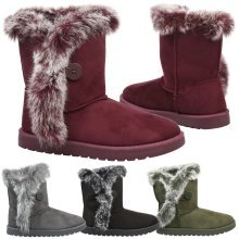 Ellie Womens Flats Low Heels Fur Lined Trim Cuff Ankle Boots Ladies Shoes Size