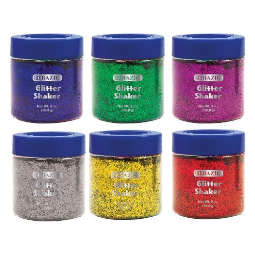 BAZIC Primary Color Glitter 2 Ounce Shakers In 6 Colors 3445 12
