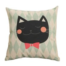 Decor Cotton Linen Decorative Throw Pillow Case Cushion Cover,Bow Tie Cat