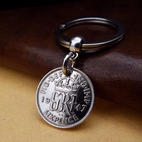 1947 Britsh Sixpence Coin Keyring Birthday Gift