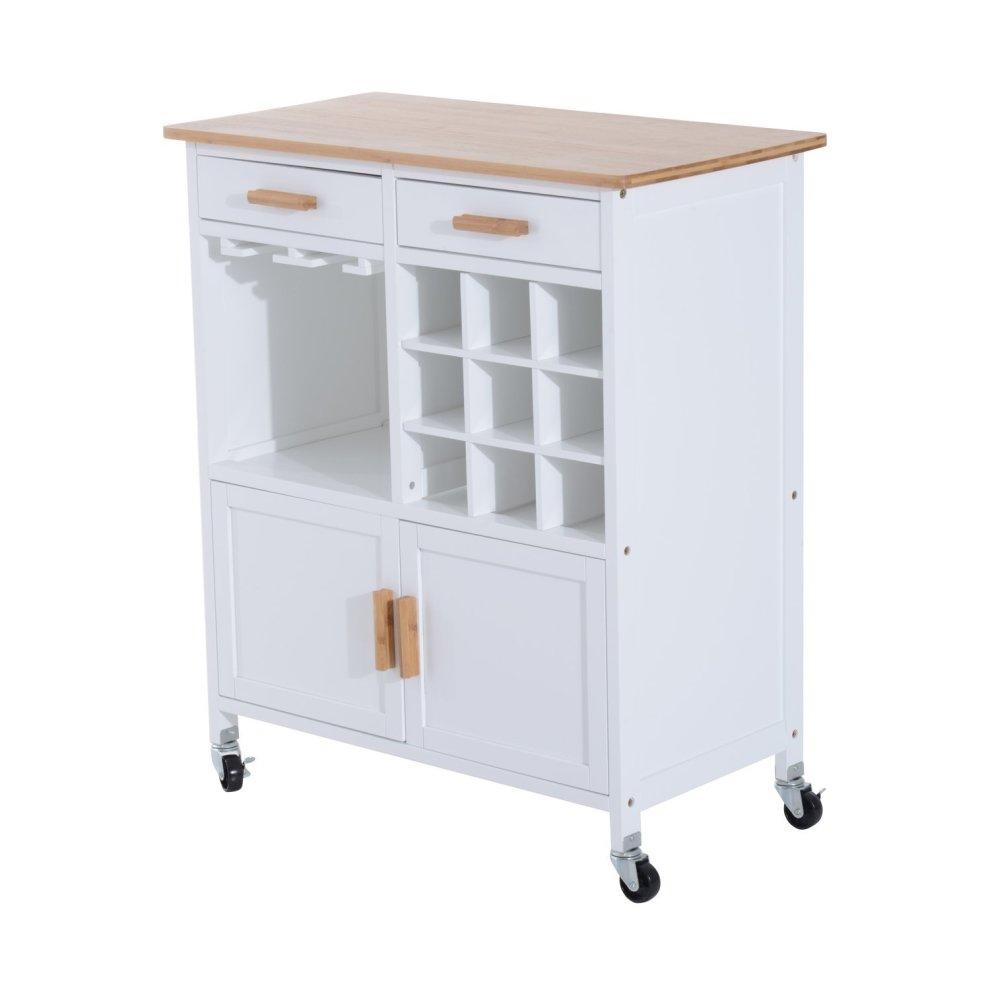Portable Kitchen Rolling Cart Island Storage Wine Rack: Homcom Rolling Kitchen Cart Storage Cabinet Trolley Wood