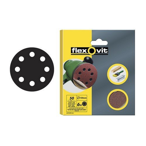 Flexovit 63642526384 Hook & Loop Sanding Discs 115mm Coarse 50g Pack of 6