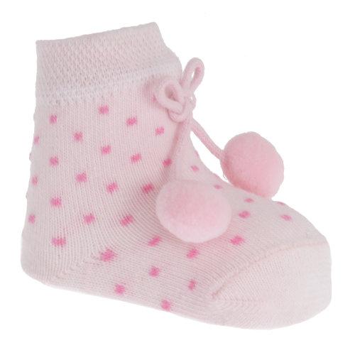 My Little Chick Newborn Baby Girls Socks With Pom Poms