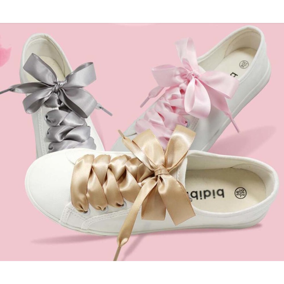 a31c708ad ... Satin Ribbon Shoelaces Flat Shoe Laces for Sneakers 2 Pair Pack 2 CM  Wide - A2. >