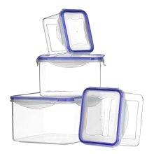 Set of 4 Food Containers with Airtight Lids, Transparent