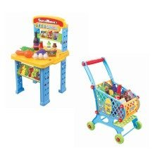 deAO Supermarket Grocery Store and Shopping Cart Trolley PlaySet Market Stand with Fold Up Design Includes Multiple Accessories