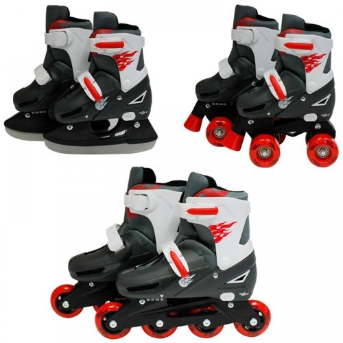 SK8 Zone Boys Red 3in1 Adjustable Roller Blades Inline Quad Skates Ice Skating[Small 9-12 (27-30 EU)]
