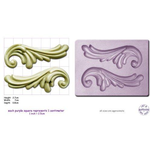 SCROLLS x 2 Medium Craft Sugarcraft Wax Resin Soap Sculpey Silicone mold