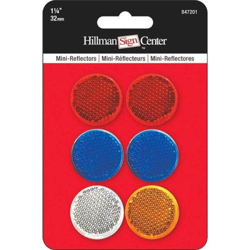 Hillman Group 847201 1.5 in. Mini Circle Reflector Pack, 5 Piece - 12 per Pack